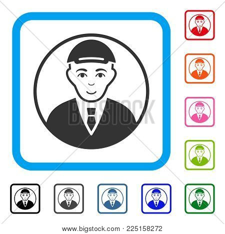 Gladness Rounded Man Portrait vector icon. Person face has gladness emotions. Black, grey, green, blue, red,