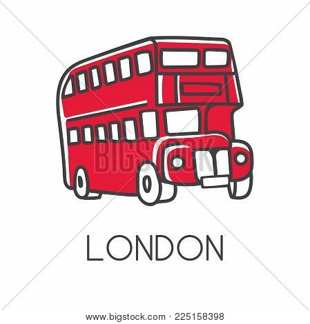 Modern vector illustration London with hand drawn doodle english symbol - red double decker bus. Simple minimalistic sketch design with black outline isolated on white. Touristic logo, icon.