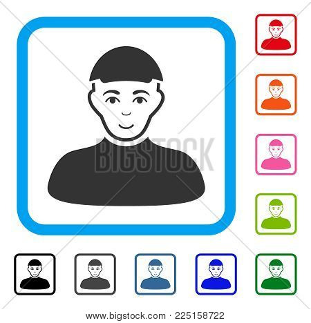 Enjoy Guy vector icon. Human face has smiling emotions. Black, grey, green, blue, red, orange color variants of guy symbol inside a rounded rectangular frame. A guy dressed with a cap.