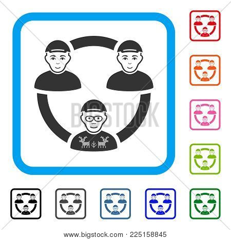 Smiling Geek Collaboration Network vector pictograph. Human face has enjoy mood. Black, grey, green, blue, red, orange color versions of geek collaboration network symbol inside a rounded square.