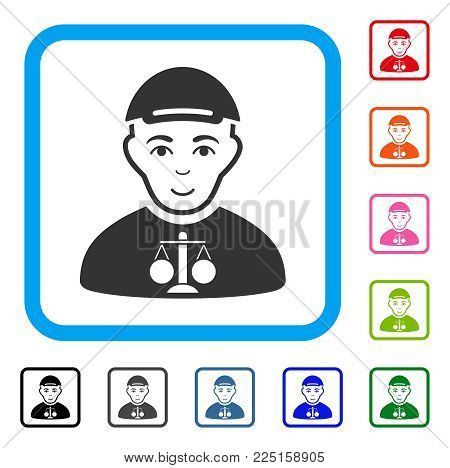 Smiling Judge vector pictograph. Human face has joyful emotions. Black, gray, green, blue, red, orange color additional versions of judge symbol in a rounded square. A guy wearing a cap.