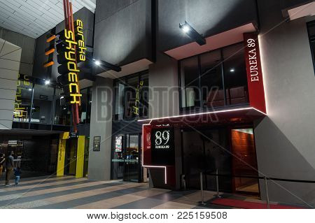 Melbourne, Australia - January 16, 2018: Eureka Skydeck is an observation deck on level 88 of Eureka Tower. It is a popular tourist attraction in Melbourne.