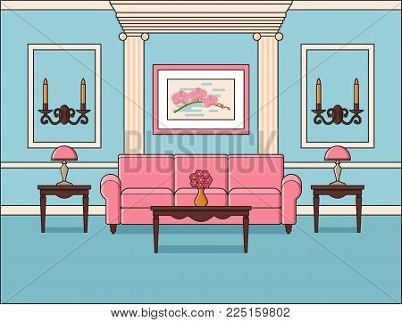 Room interior. Living room in flat design. Vector. Outline background in blue. Home space and furniture in line art Cartoon house equipment in pastel colors Linear illustration Parlor in classic style
