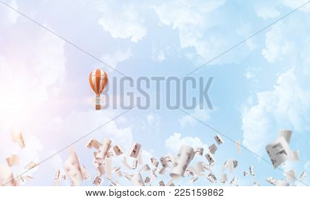 Colorful aerostat flying among paper documents and over the blue cloudy sky. 3D rendering.