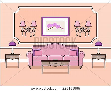 Room interior. Vector. Living room with sofa in flat design. Linear background. Home space with furniture in line art. Cartoon house in pink pastel colors. Outline illustration. Salon in classic style