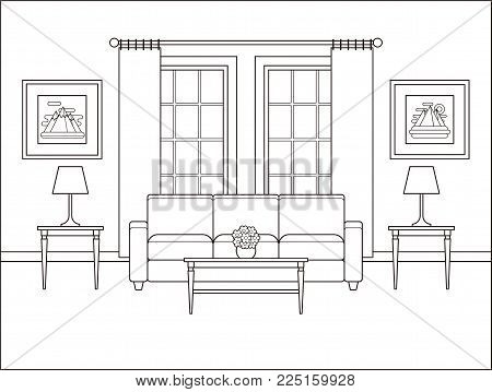 Living room interior with window. Linear room in flat design. Vector. Outline background. Home space with furniture in line art. Coloring page. Cartoon house equipment. Salon. Thin line illustration.