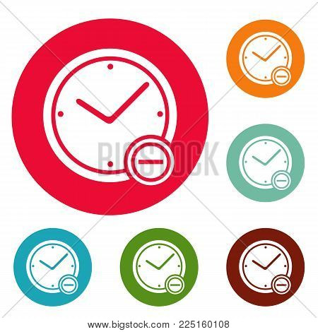 Time minus icons circle set vector isolated on white background