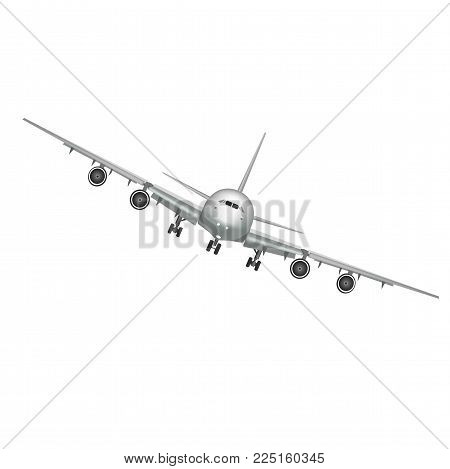 Flying airplane, jet aircraft, airliner. Front view of detailed realistic passenger air plane isolated on white background. Vector illustration.