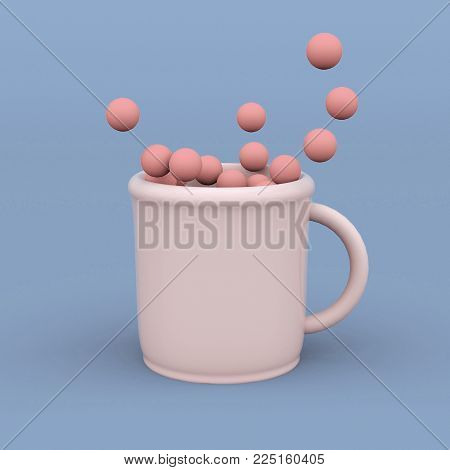 cup with spheres. Minimal abstract art. Surreal creative concept. 3d rendering