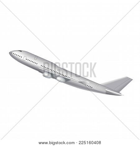 Flying airplane, jet aircraft, airliner. Side view of detailed realistic passenger air plane isolated on white background. Vector illustration.