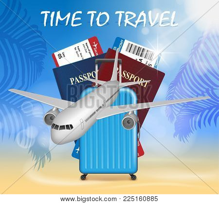 World travel and tourism concept. Banner in tourism theme with airplane on palm beach summer background. Travel agency advertisement airplane poster design. Vector Illustration EPS 10