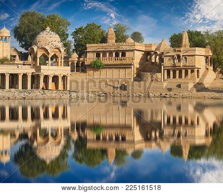 Gadi Sagar Temple On Gadisar Lake Jaisalmer, India.