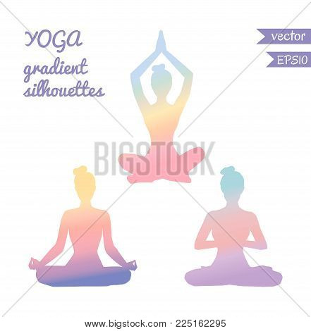 Vector Set Of Three Female Silhouettes In Meditating Pose With Tender Gradient In Pastel Pink, Blue,