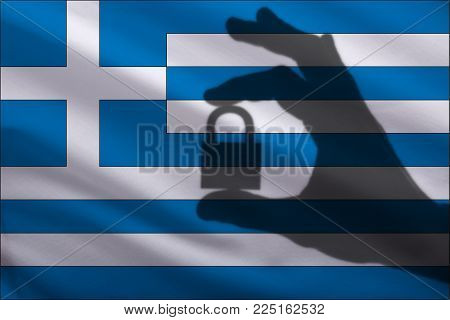 Greece closed lock in the hand. Import and export of goods from the world market of trade is prohibited. Closed borders for tourists and immigrants. Epidemic virus in the country. Top Secret Information