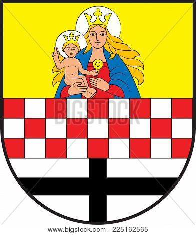 Coat of arms of Neuenrade is a town in North Rhine-Westphalia, Germany, located in the hills of the Sauerland in the Maerkischer Kreis. Vector illustration