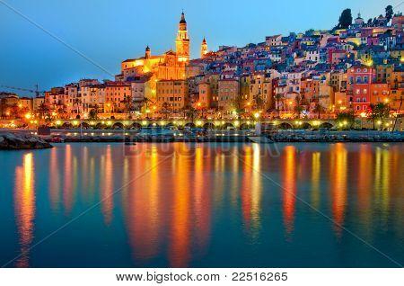 Menton Provence village at night
