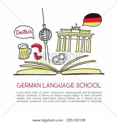 Vector Illustration German Language School. Open Book And Symbols Of Germany: Beer, The Brandenburg