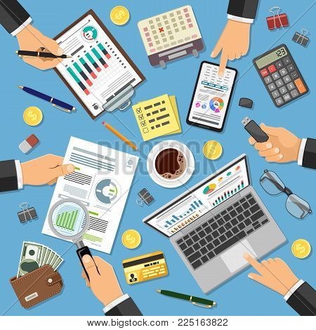 Workplace Auditing, Tax process, calculation, Accounting Concept. Hands holds Magnifier and Checks financial report. Charts on Documents, Smartphone, Laptop. Flat icons. Isolated vector illustration