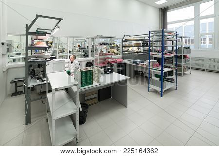 Zelenograd, Russia - October 19, 2017: Laboratory for testing and adjustment of electronic equipment.