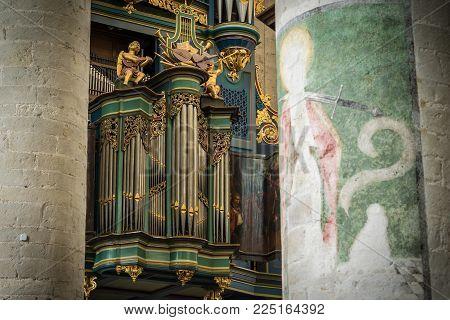 Breda, Netherlands - August 18, 2017: The Flentrop Organ In The Grote Kerk Was Build In 1967-1969. I