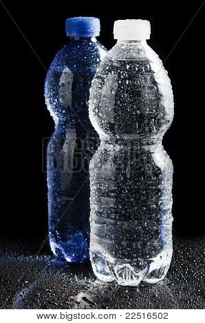 Plastic bottle white and blue one