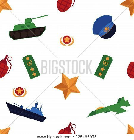 Seamless pattern with flat army, military objects - tank, battleship, airplane, grenade, cap and straps, vector illustration on white background. Army, military seamless pattern on white background