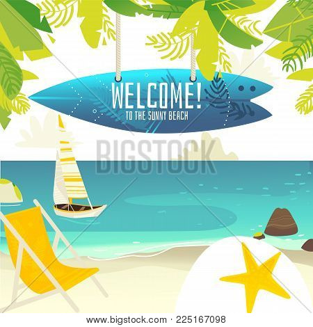 Tropic palm beach banner, card, postcard with yacht, lounge chair and surfboard with place for text, summer vacation, flat cartoon vector illustration. Beach vacation banner - yacht and lounge chair