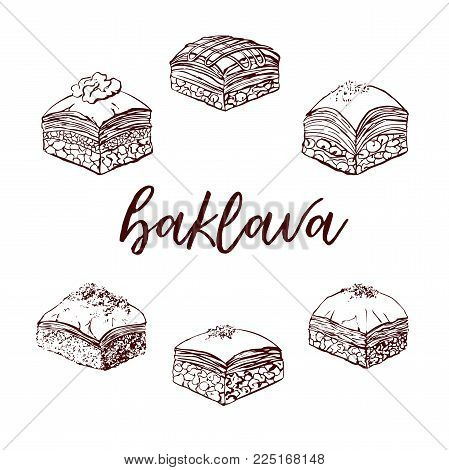 Vector Hand Drawn Illustrations With Famous Dessert Baklava. Assorted Sweets Ink Drawing Isolated On