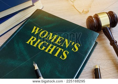 Book With Name Women's Rights In A Court. Gender Equality Concept.