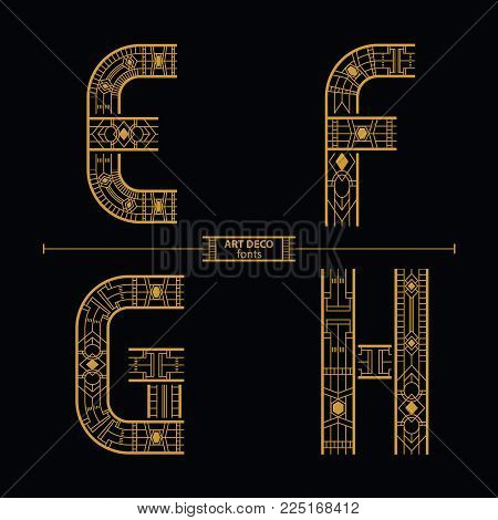 Vector graphic alphabet in a set E,F,G,H, with art deco style