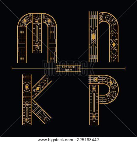 Vector graphic alphabet in a set M,N,O,P with art deco style