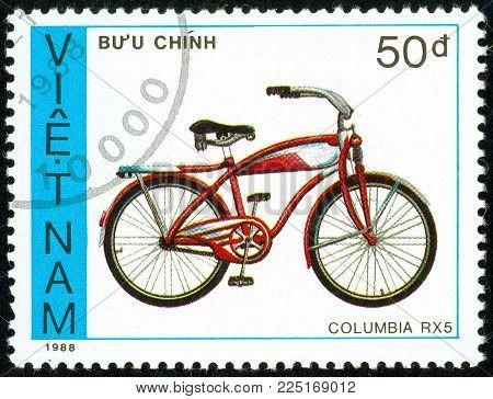 Ukraine - circa 2018: A postage stamp printed in Vietnam show children bicycle Columbia RX 5. Series: Bicycles. Circa 1988.