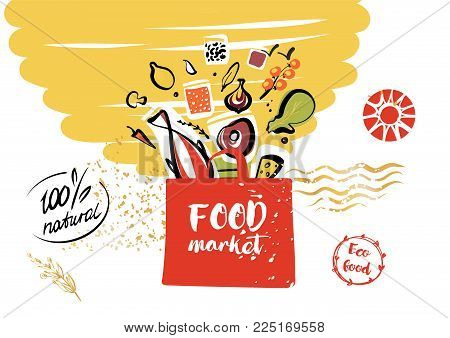 Template logo. Silhouette open package with meal ingredient. Food farm goods. Concept image, banner, poster, flyer for shop, market, store, boutique with eco farm product.