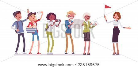 Tour guide lady and group of tourists. Female showing people places of interest, explains details about city or country they visit. Vector flat style cartoon illustration isolated on white background