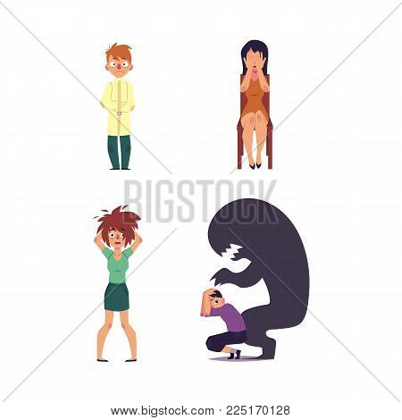 vector flat mental illness set. Woman with depression sitting at chair crying, girl with mental anxiety problem holding disheveled hair, male character sitting with monster shadow, man in straitjacket