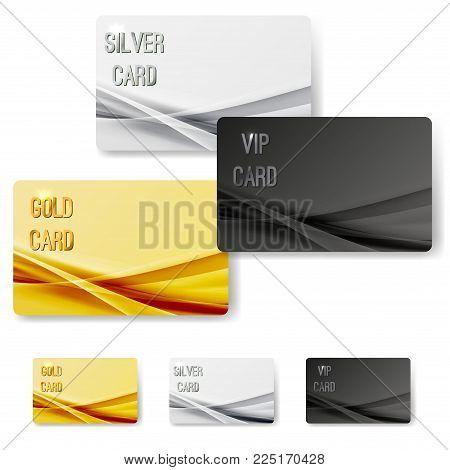Abstract mild wave pattern vip membership cards collection. Golden, silver, platinum metallic customer satisfaction certificates set. Vector illustration