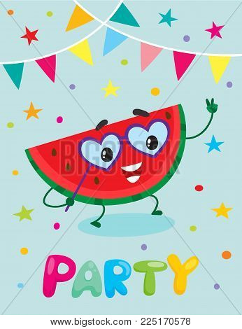 Party banner, flayer, invitation template with cartoon watermelon fruit character having fun, vector illustration. Funny watermelon fruit with human face, flags and confetti, party flyer design