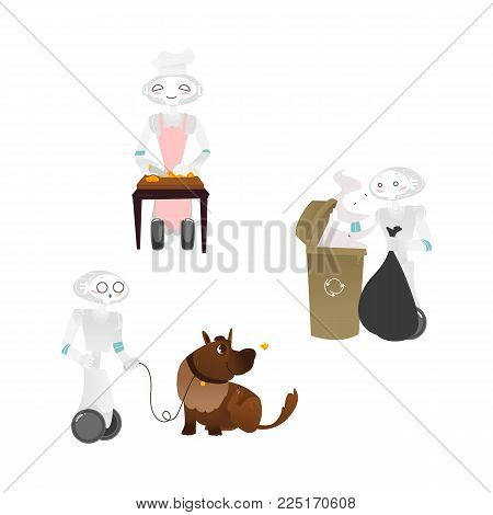 Vector robots, artificial intelligence in modern life concept. Wheeled cyborg assistants helping with household chores, walking with dog, cooking, taking out garbage. Isolated illustration