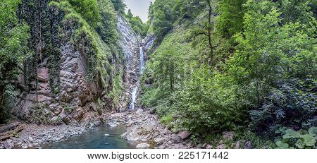 Three- step waterfall Nameless. Near Sochi, Russia