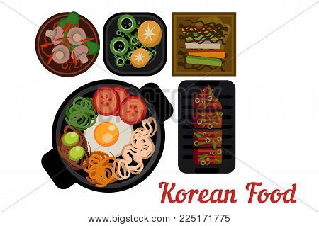 National Korean cuisine. Plates with delicious Asian food. Bibimbap with vegetables, pigodi, grilled pork and traditional side dishes. Flat design for restaurant menu. Isolated vector illustration.