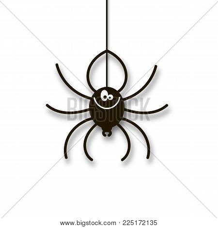 Cartoon spider. Isolated object. Illustration on a theme of Halloween. Vector illustration. Hand drawing