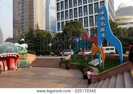 SHANGHAI, CHINA-JAN 08, 2018: Entrance of Shanghai Bund Tourist Tunnel. The tunnel is actually a sightseeing tunnel under the Huangpu river.