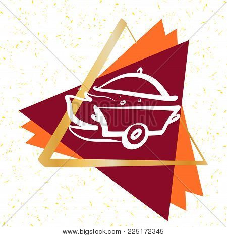 Element design for cuisine service company. Silhouette of pan with cap. Sketch image fire, steam, wheel. Concept  for fast delivery.