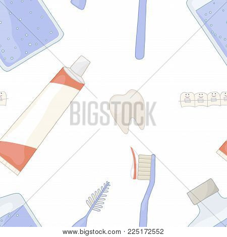Oral health with braces. Crooked teeth are straight. Seamless pattern background. Recommendations orthodontist. Orthodontics vector. Toothpaste, toothbrush, brush, rinse