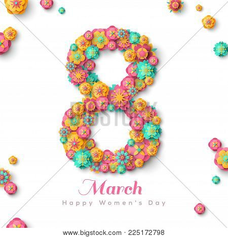 Happy International Women's day greeting card. Number eight with paper cut flowers. Vector illustration. Typographic Composition for 8 March Day