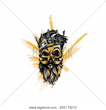 Hipster skull with beard and mustache, crown, king on white background vector illustration design