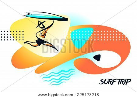 Sketch template logo for surf trip. Minimalist modern sign. Element design banner, poster for surfing school business. Silhouette freehand drawn man with surfboard.