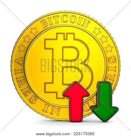 infographic growth bitcoin on white background. Isolated 3D illustration