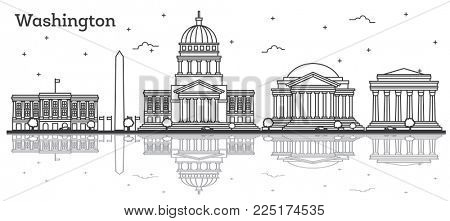 Outline Washington DC USA City Skyline with Modern Buildings Isolated on White. Washington DC Cityscape with Landmarks and Reflections.