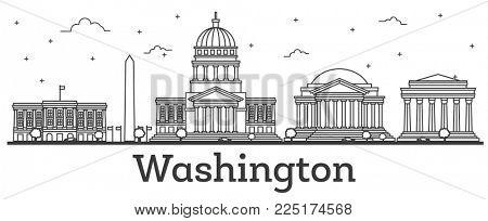 Outline Washington DC USA City Skyline with Modern Buildings Isolated on White.  Washington DC Cityscape with Landmarks.